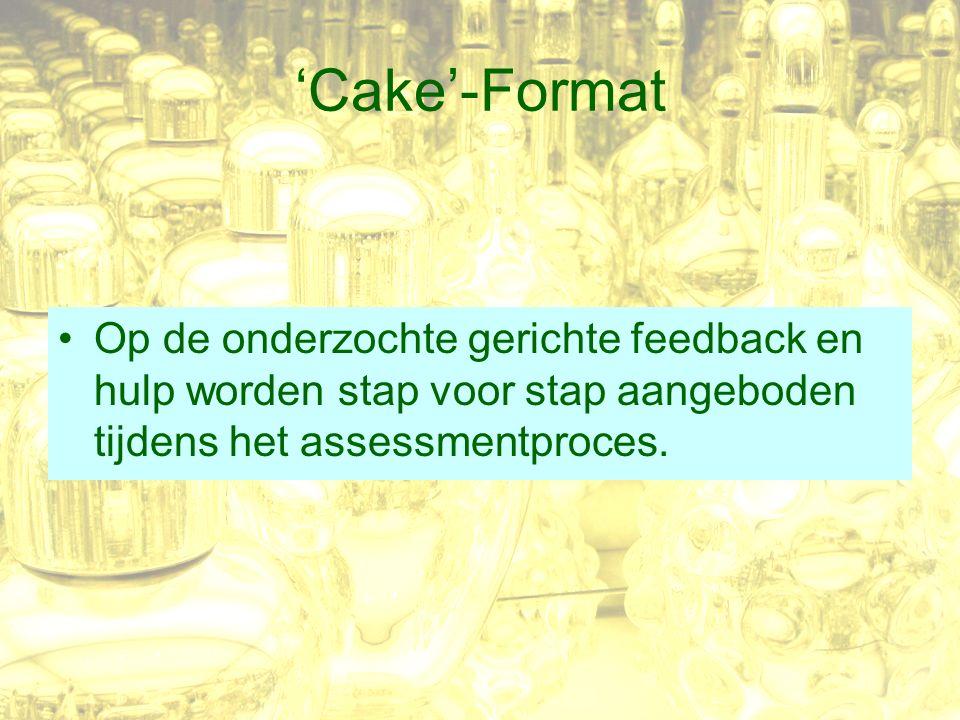 'Cake'-Format Op de onderzochte gerichte feedback en hulp worden stap voor stap aangeboden tijdens het assessmentproces.