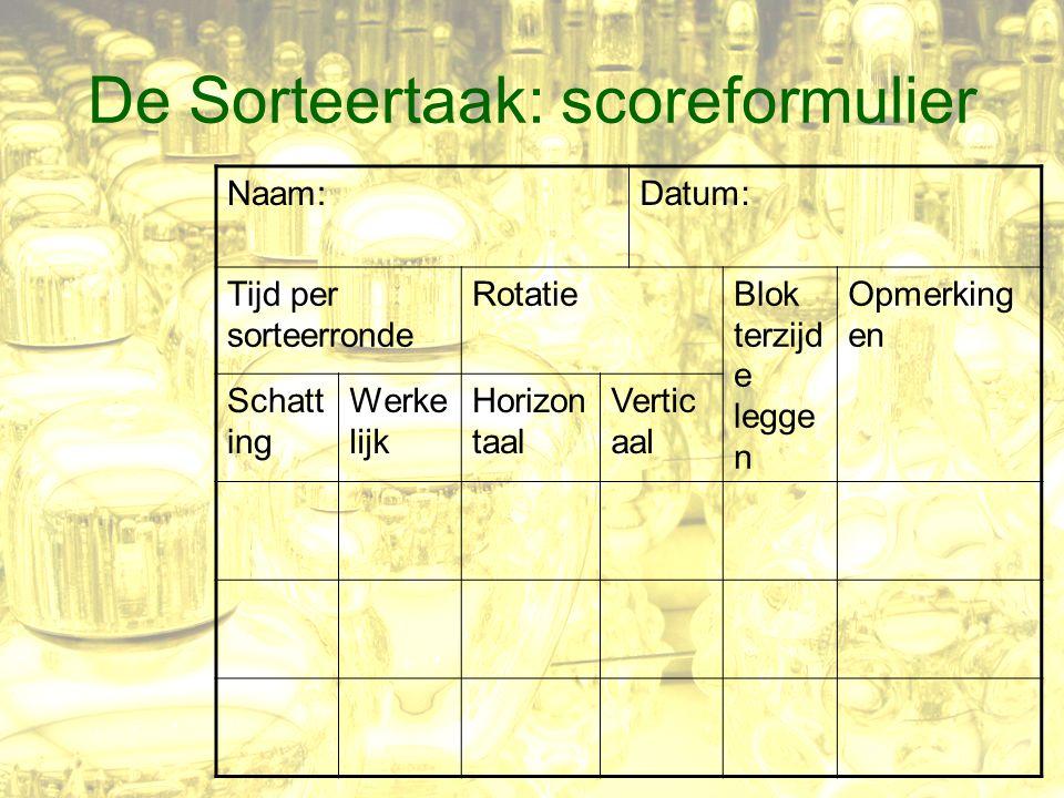 De Sorteertaak: scoreformulier Naam:Datum: Tijd per sorteerronde RotatieBlok terzijd e legge n Opmerking en Schatt ing Werke lijk Horizon taal Vertic