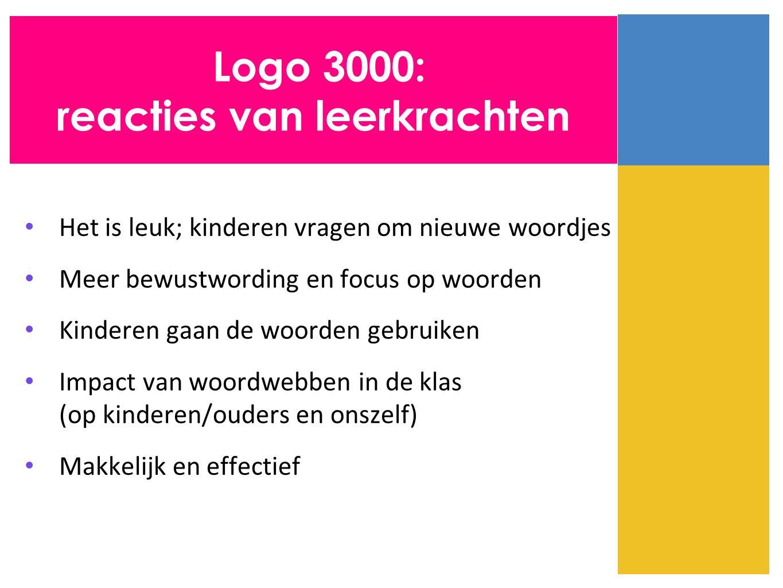 Het is leuk; kinderen vragen om nieuwe woordjes Meer bewustwording en focus op woorden Kinderen gaan de woorden gebruiken Impact van woordwebben in de klas (op kinderen/ouders en onszelf) Makkelijk en effectief Logo 3000: reacties van leerkrachten