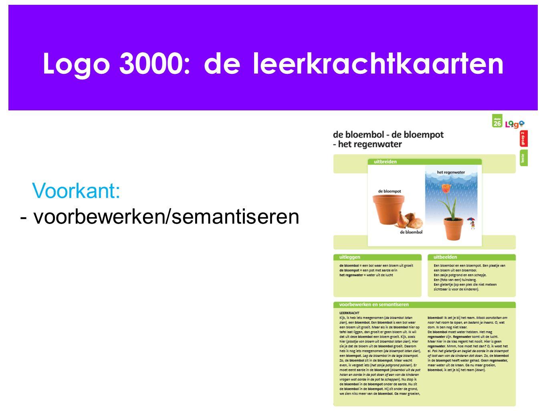 Logo 3000: de leerkrachtkaarten Voorkant: - voorbewerken/semantiseren
