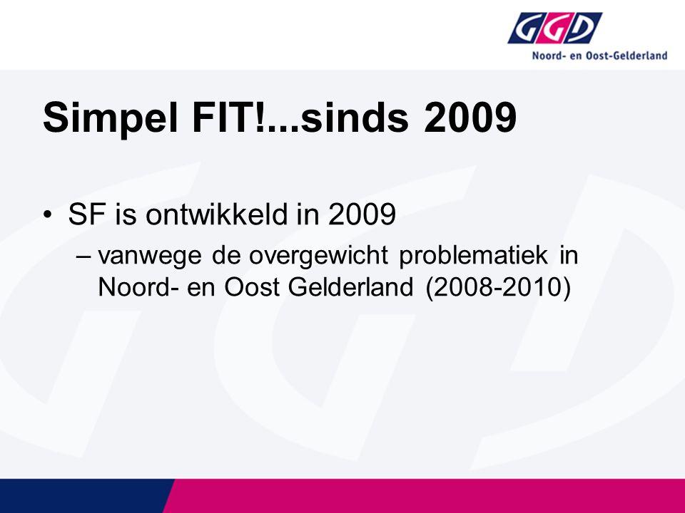 Simpel FIT!...sinds 2009 SF is ontwikkeld in 2009 –vanwege de overgewicht problematiek in Noord- en Oost Gelderland (2008-2010)