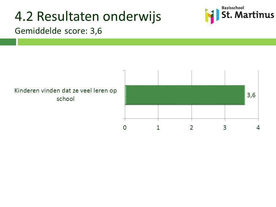 4.2 Resultaten onderwijs Gemiddelde score: 3,6