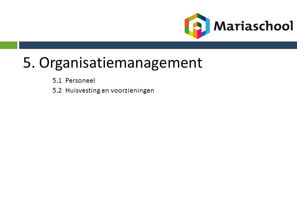 5. Organisatiemanagement 5.1 Personeel 5.2 Huisvesting en voorzieningen
