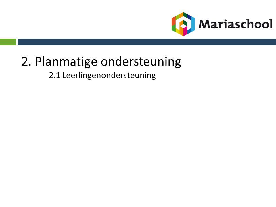 2. Planmatige ondersteuning 2.1 Leerlingenondersteuning