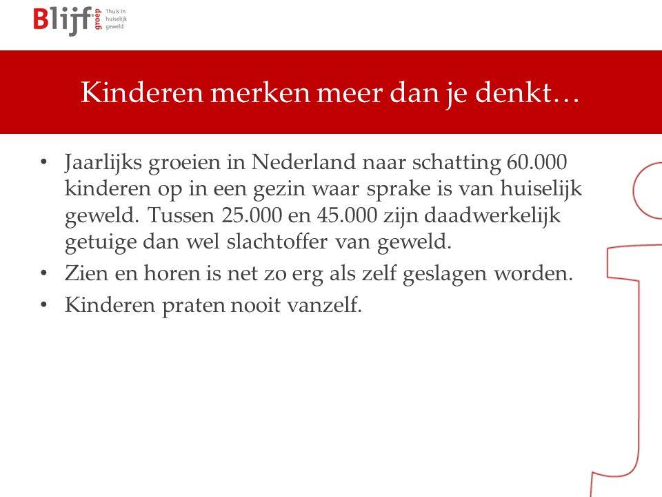 Kinderen merken meer dan je denkt… Jaarlijks groeien in Nederland naar schatting 60.000 kinderen op in een gezin waar sprake is van huiselijk geweld.
