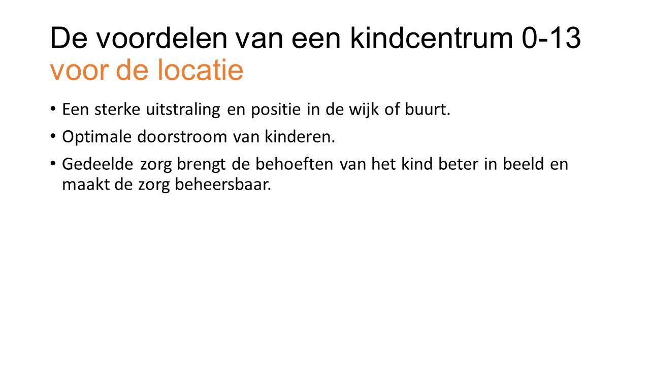 De voordelen van een kindcentrum 0-13 voor de locatie Een sterke uitstraling en positie in de wijk of buurt.