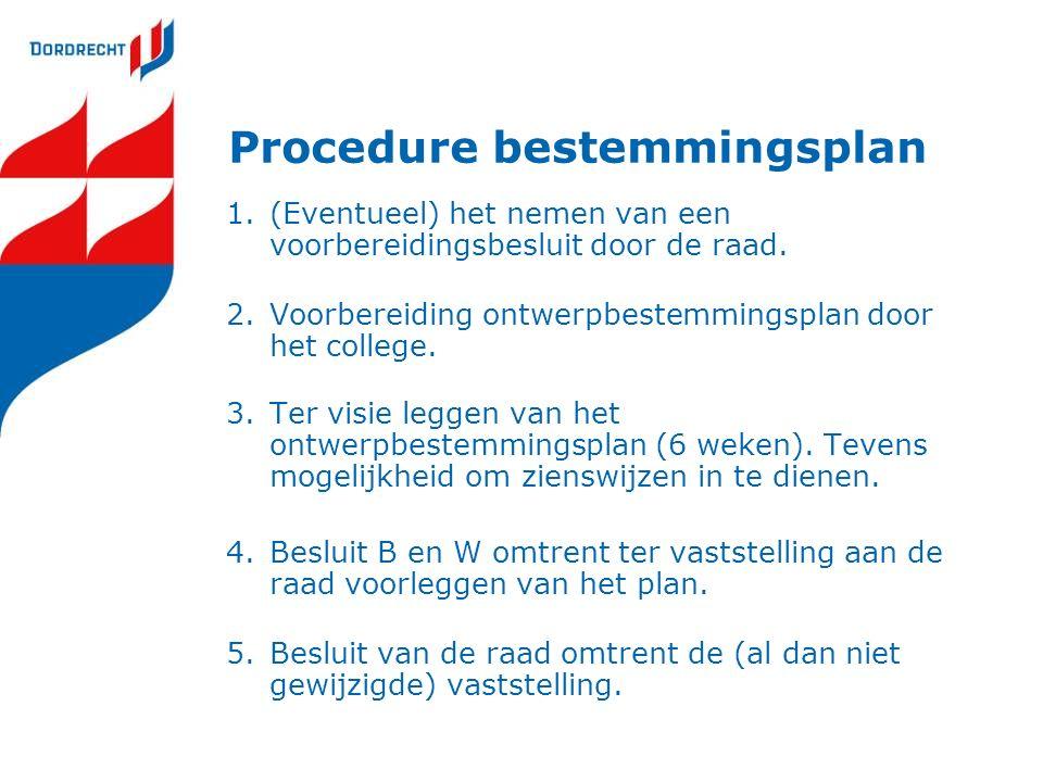 Procedure bestemmingsplan 1.(Eventueel) het nemen van een voorbereidingsbesluit door de raad. 2.Voorbereiding ontwerpbestemmingsplan door het college.