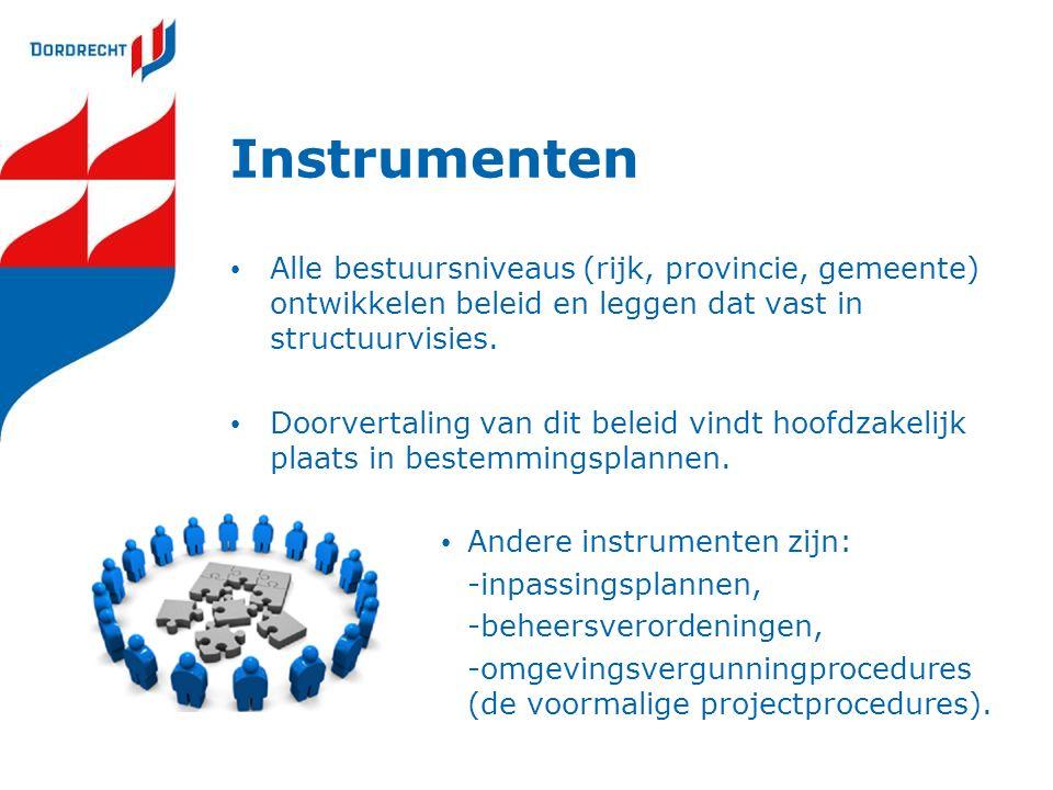 Instrumenten Alle bestuursniveaus (rijk, provincie, gemeente) ontwikkelen beleid en leggen dat vast in structuurvisies. Doorvertaling van dit beleid v