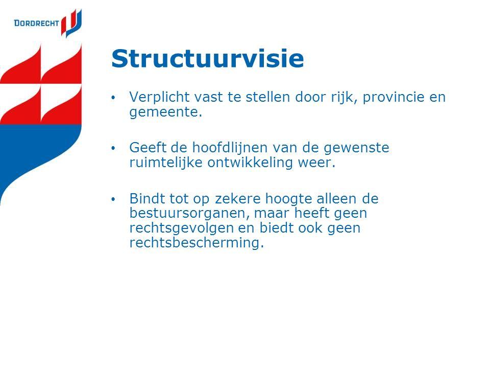 Structuurvisie Verplicht vast te stellen door rijk, provincie en gemeente.