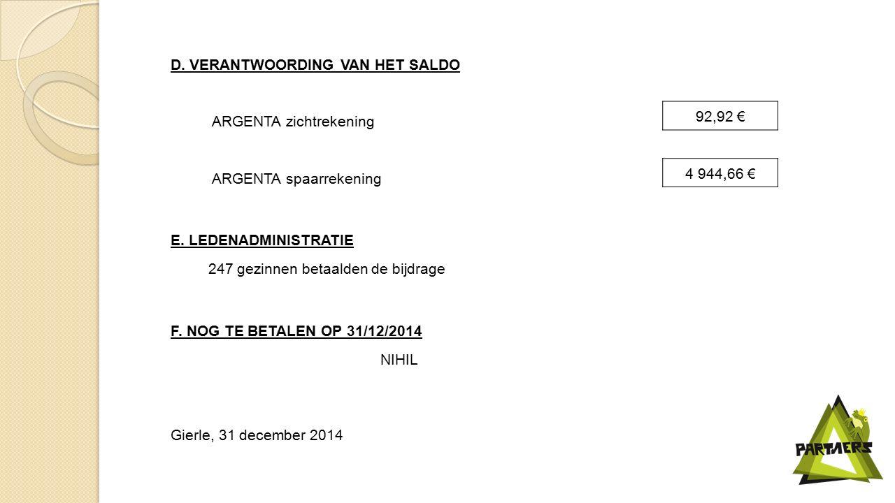 D. VERANTWOORDING VAN HET SALDO ARGENTA zichtrekening 92,92 € ARGENTA spaarrekening 4 944,66 € E.
