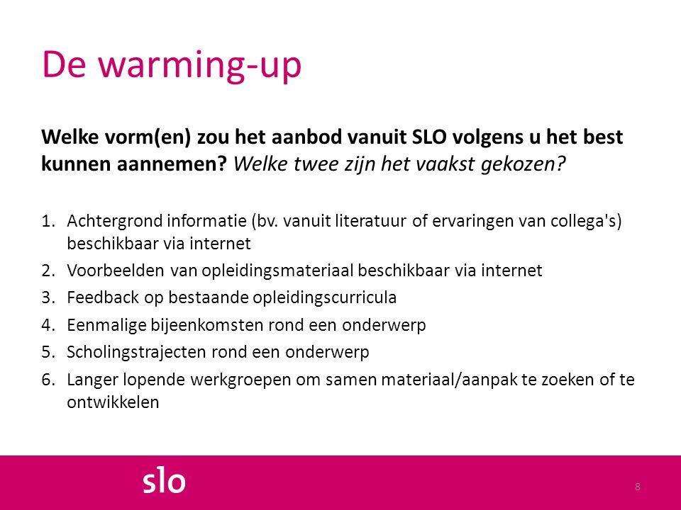 De warming-up Welke vorm(en) zou het aanbod vanuit SLO volgens u het best kunnen aannemen.