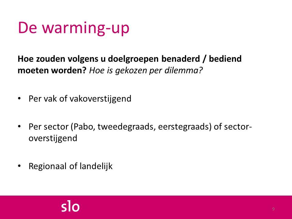 De warming-up Hoe zouden volgens u doelgroepen benaderd / bediend moeten worden.