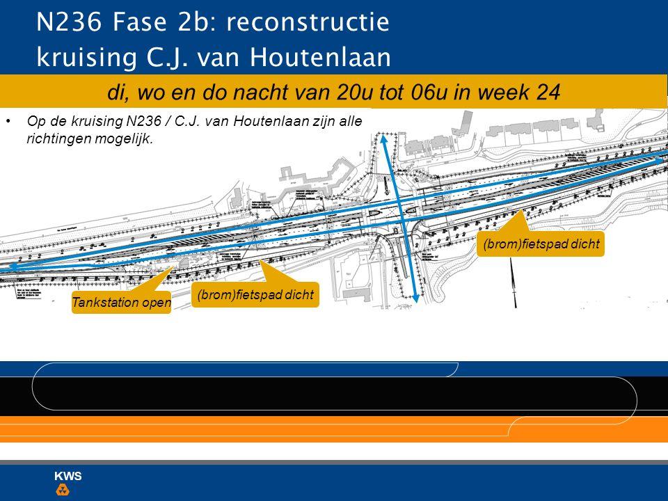 N236 Fase 2b: reconstructie kruising C.J. van Houtenlaan Tankstation open di, wo en do nacht van 20u tot 06u in week 24 (brom)fietspad dicht Op de kru