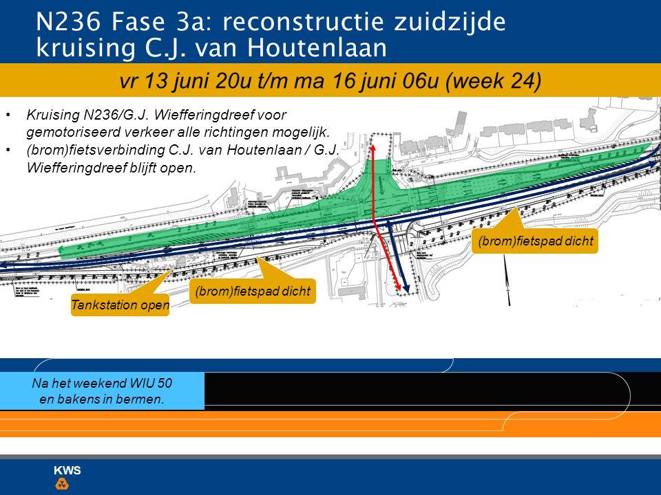 N236 Fase 3a: reconstructie zuidzijde kruising C.J. van Houtenlaan Na het weekend WIU 50 en bakens in bermen. (brom)fietspad dicht Kruising N236/G.J.