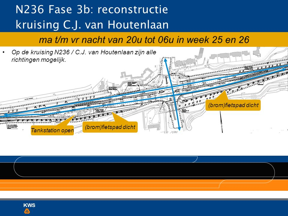 N236 Fase 3b: reconstructie kruising C.J. van Houtenlaan ma t/m vr nacht van 20u tot 06u in week 25 en 26 Tankstation open (brom)fietspad dicht Op de