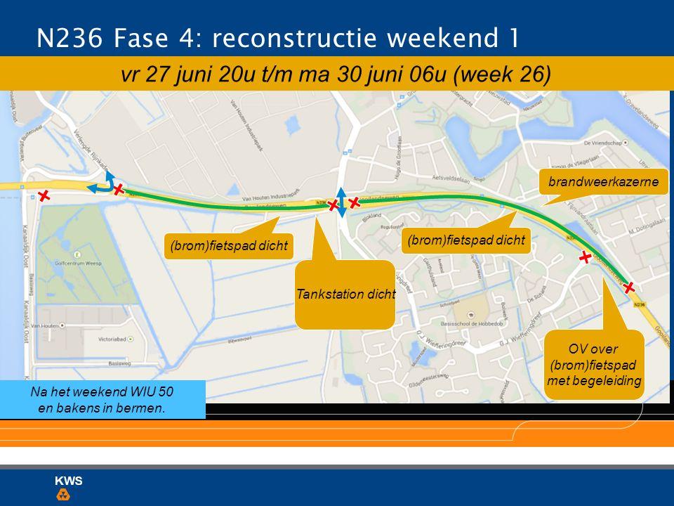 N236 Fase 4: reconstructie weekend 1 brandweerkazerne vr 27 juni 20u t/m ma 30 juni 06u (week 26) (brom)fietspad dicht Tankstation dicht Na het weeken