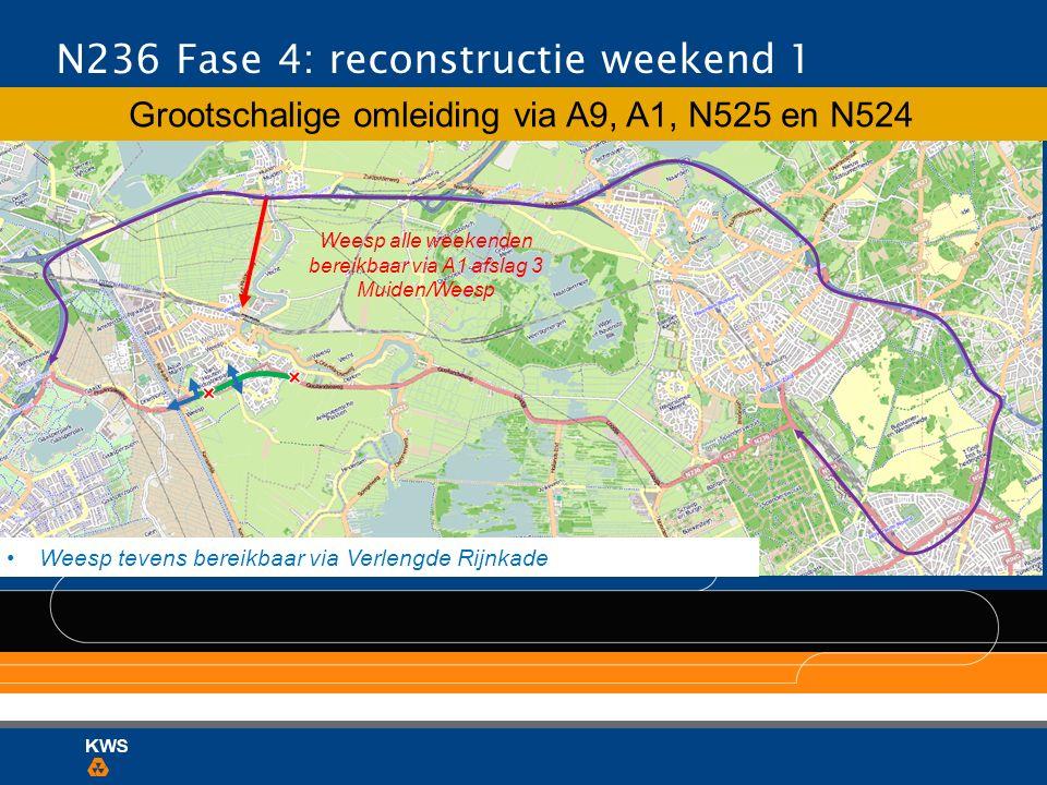 Weesp alle weekenden bereikbaar via A1 afslag 3 Muiden/Weesp N236 Fase 4: reconstructie weekend 1 Grootschalige omleiding via A9, A1, N525 en N524 Wee