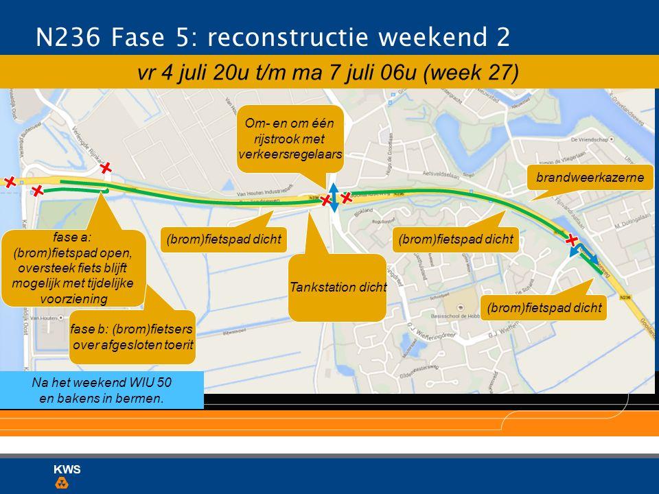 N236 Fase 5: reconstructie weekend 2 brandweerkazerne (brom)fietspad dicht Tankstation dicht (brom)fietspad dicht Om- en om één rijstrook met verkeers