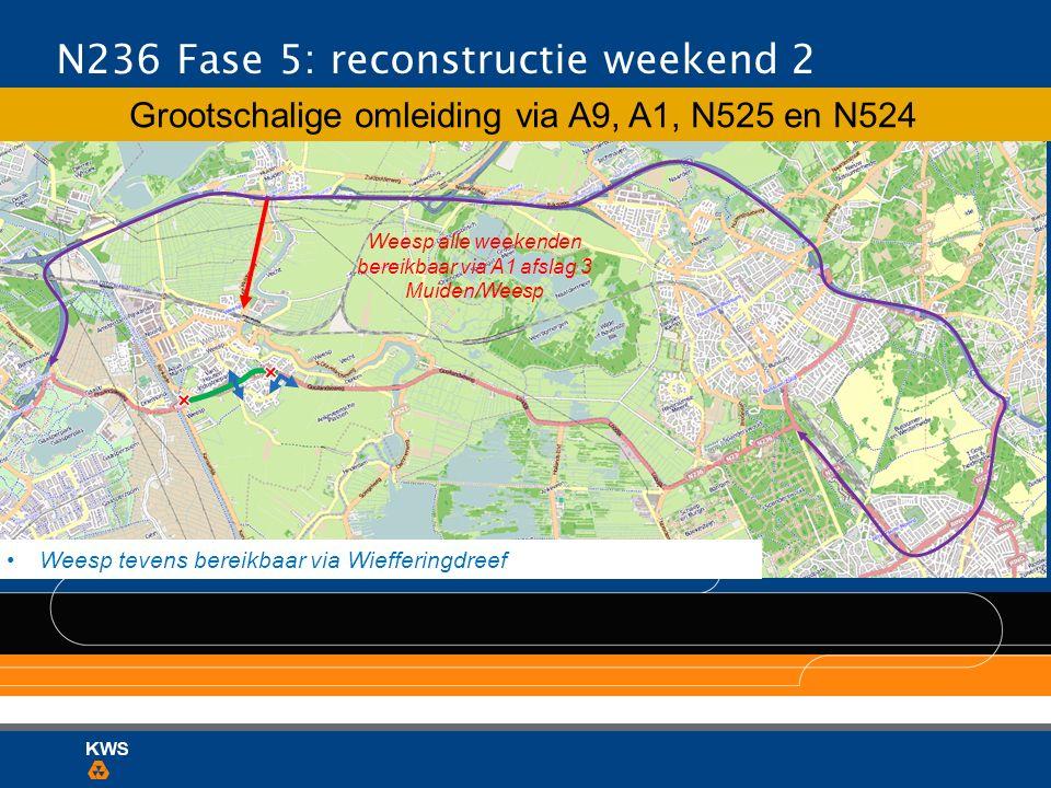 Weesp alle weekenden bereikbaar via A1 afslag 3 Muiden/Weesp N236 Fase 5: reconstructie weekend 2 Grootschalige omleiding via A9, A1, N525 en N524 Wee