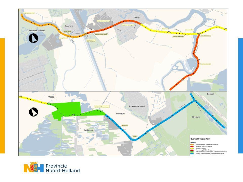 Planning Herinrichting N236 Traject ActiviteitWanneer Loosdrechtdreef – Weesperbrug (N236) VoorbereidingTot eind 2014 UitvoeringEind 2014 – eind 2015 Gooilandseweg (Weesp) (N236) VoorbereidingTot mei 2014 UitvoeringMei 2014 – augustus 2014 Dammerweg – Spiegelweg (N523) VoorbereidingTot mei 2014 UitvoeringJuli 2014 Aetsveld – Loodijk (N236)VoorbereidingTot eind 2014 Uitvoering2015 – 2016 Loodijk – Noordeinde incl.