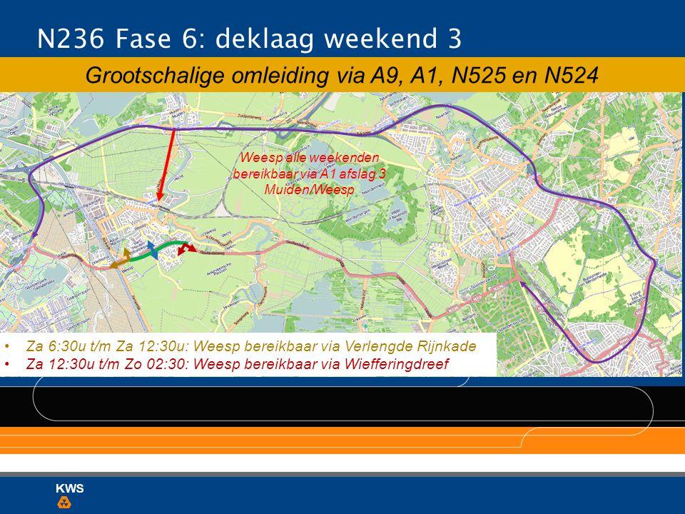 Grootschalige omleiding via A9, A1, N525 en N524 Weesp alle weekenden bereikbaar via A1 afslag 3 Muiden/Weesp N236 Fase 6: deklaag weekend 3 Za 6:30u