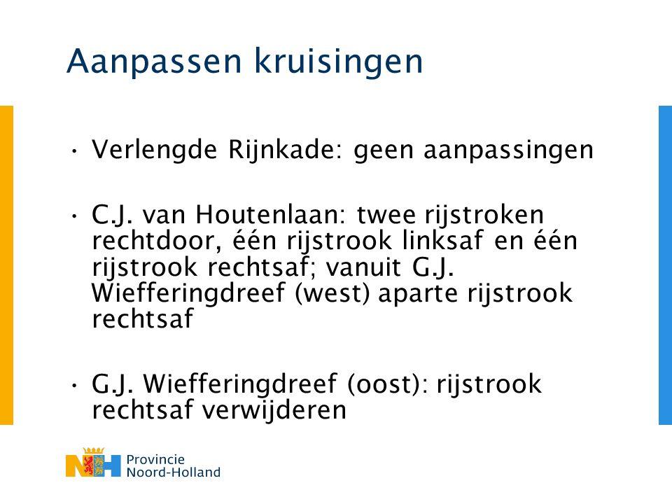 Aanpassen kruisingen Verlengde Rijnkade: geen aanpassingen C.J. van Houtenlaan: twee rijstroken rechtdoor, één rijstrook linksaf en één rijstrook rech