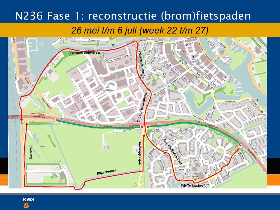 N236 Fase 1: reconstructie (brom)fietspaden 26 mei t/m 6 juli (week 22 t/m 27) Verlengd Buitenveer Prinses Irenelaan C.J. van Houtenlaan Wiefferingdre