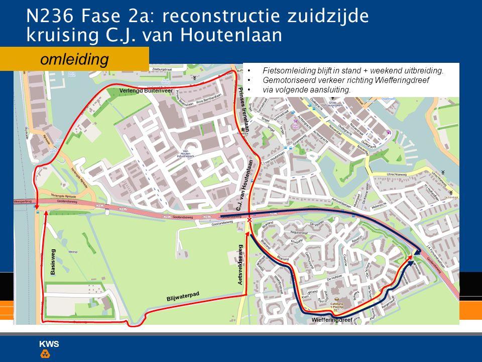 omleiding N236 Fase 2a: reconstructie zuidzijde kruising C.J. van Houtenlaan Fietsomleiding blijft in stand + weekend uitbreiding. Gemotoriseerd verke