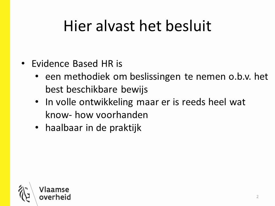 Hier alvast het besluit 2 Evidence Based HR is een methodiek om beslissingen te nemen o.b.v. het best beschikbare bewijs In volle ontwikkeling maar er