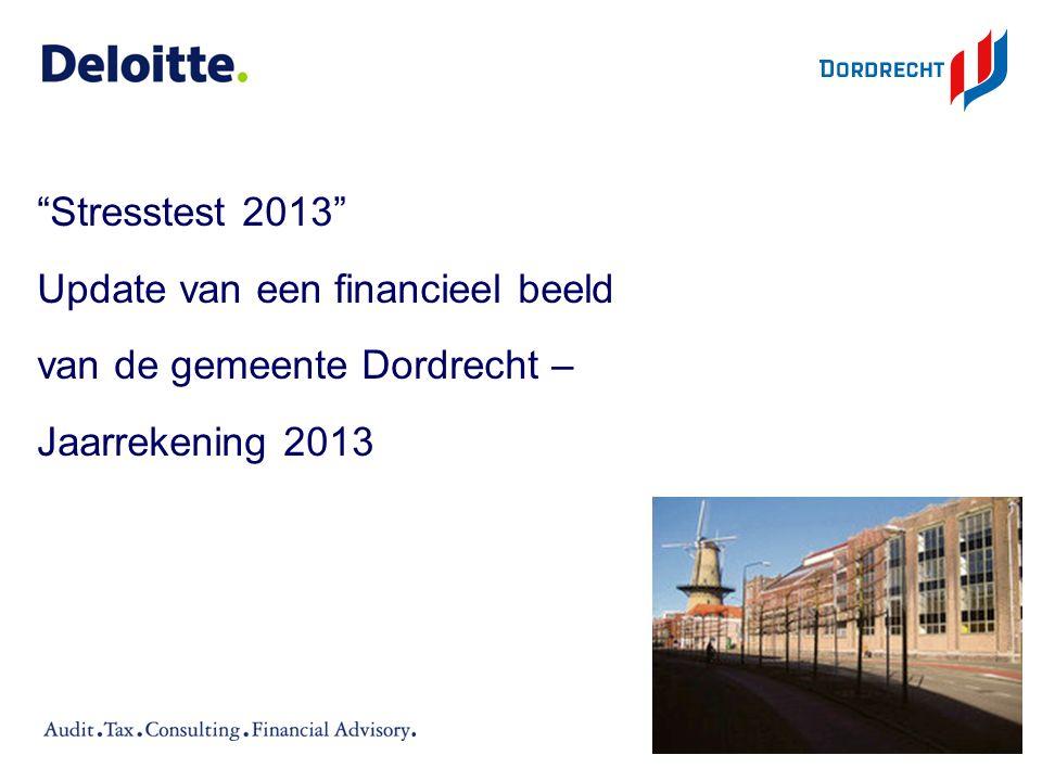 Stresstest 2013 Update van een financieel beeld van de gemeente Dordrecht – Jaarrekening 2013