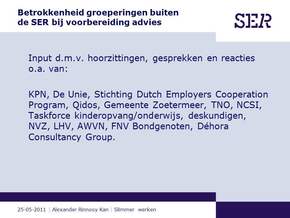 25-05-2011 | Alexander Rinnooy Kan | Slimmer werken Betrokkenheid groeperingen buiten de SER bij voorbereiding advies Input d.m.v.