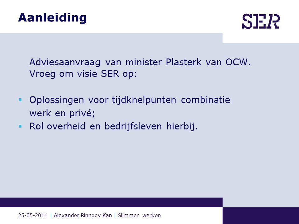 25-05-2011 | Alexander Rinnooy Kan | Slimmer werken Hoofdlijn SER-advies Werkenden ervaren grote tijdsdruk en tijdgebrek.