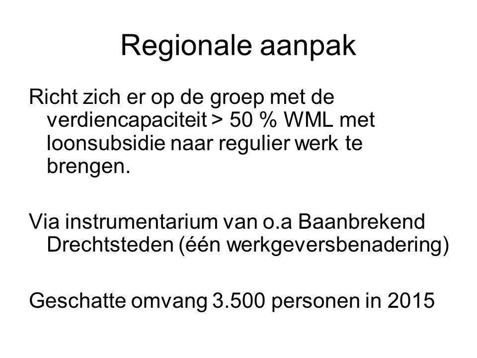 Regionale aanpak Richt zich er op de groep met de verdiencapaciteit > 50 % WML met loonsubsidie naar regulier werk te brengen. Via instrumentarium van