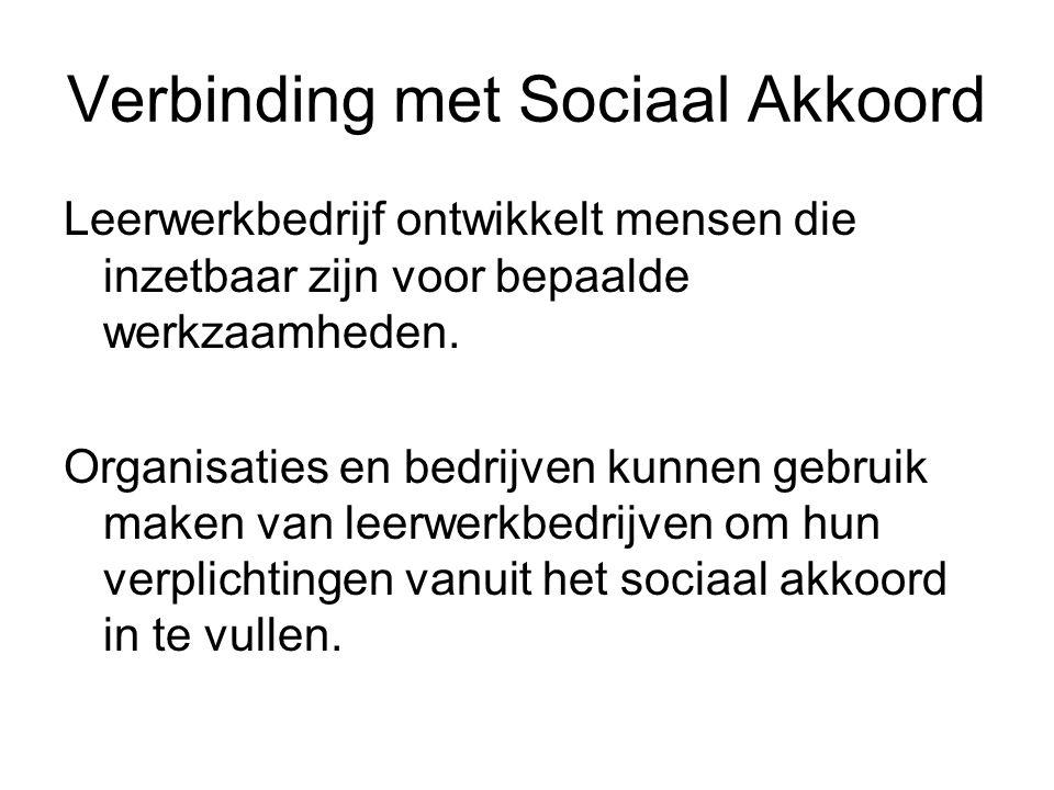 Verbinding met Sociaal Akkoord Leerwerkbedrijf ontwikkelt mensen die inzetbaar zijn voor bepaalde werkzaamheden. Organisaties en bedrijven kunnen gebr