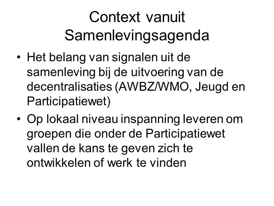 Context vanuit Samenlevingsagenda Het belang van signalen uit de samenleving bij de uitvoering van de decentralisaties (AWBZ/WMO, Jeugd en Participati