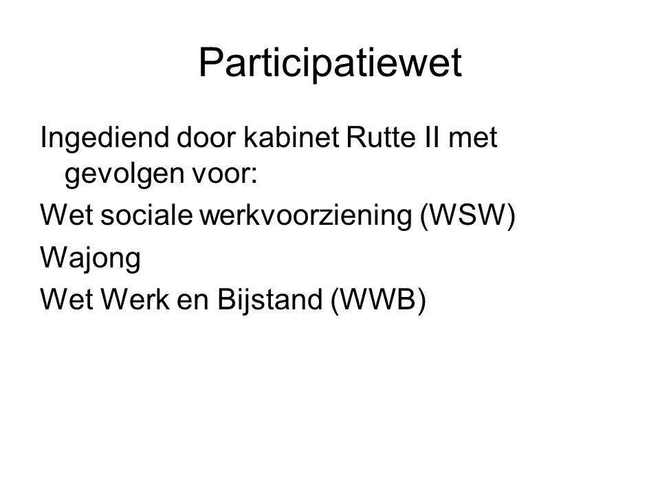 Participatiewet Ingediend door kabinet Rutte II met gevolgen voor: Wet sociale werkvoorziening (WSW) Wajong Wet Werk en Bijstand (WWB)