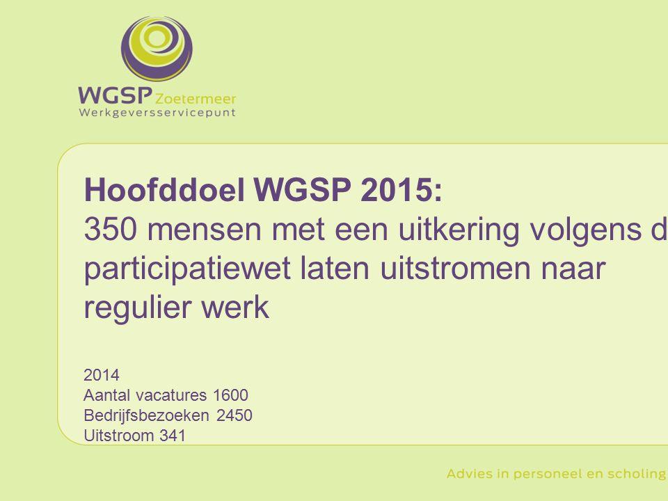 Hoofddoel WGSP 2015: 350 mensen met een uitkering volgens de participatiewet laten uitstromen naar regulier werk 2014 Aantal vacatures 1600 Bedrijfsbezoeken 2450 Uitstroom 341