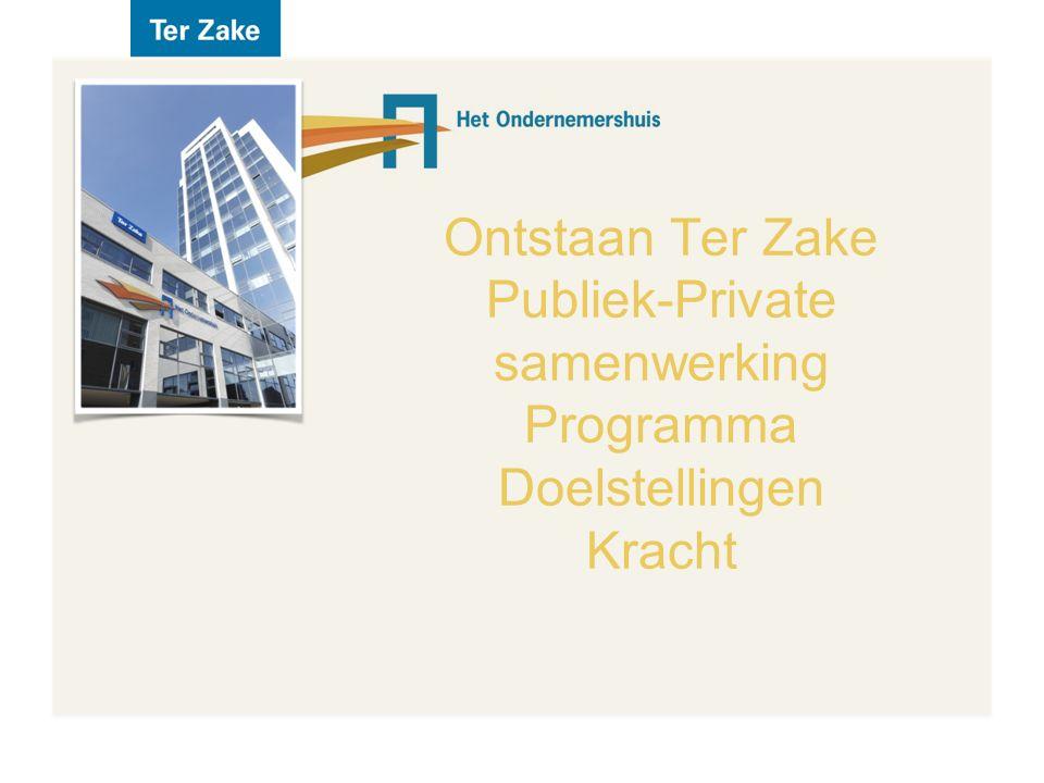 Ontstaan Ter Zake Publiek-Private samenwerking Programma Doelstellingen Kracht