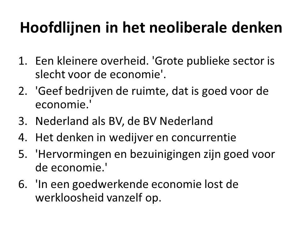 Hoofdlijnen in het neoliberale denken 1.Een kleinere overheid. 'Grote publieke sector is slecht voor de economie'. 2.'Geef bedrijven de ruimte, dat is
