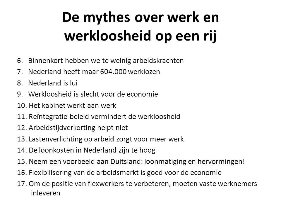 De mythes over werk en werkloosheid op een rij 6. Binnenkort hebben we te weinig arbeidskrachten 7. Nederland heeft maar 604.000 werklozen 8. Nederlan
