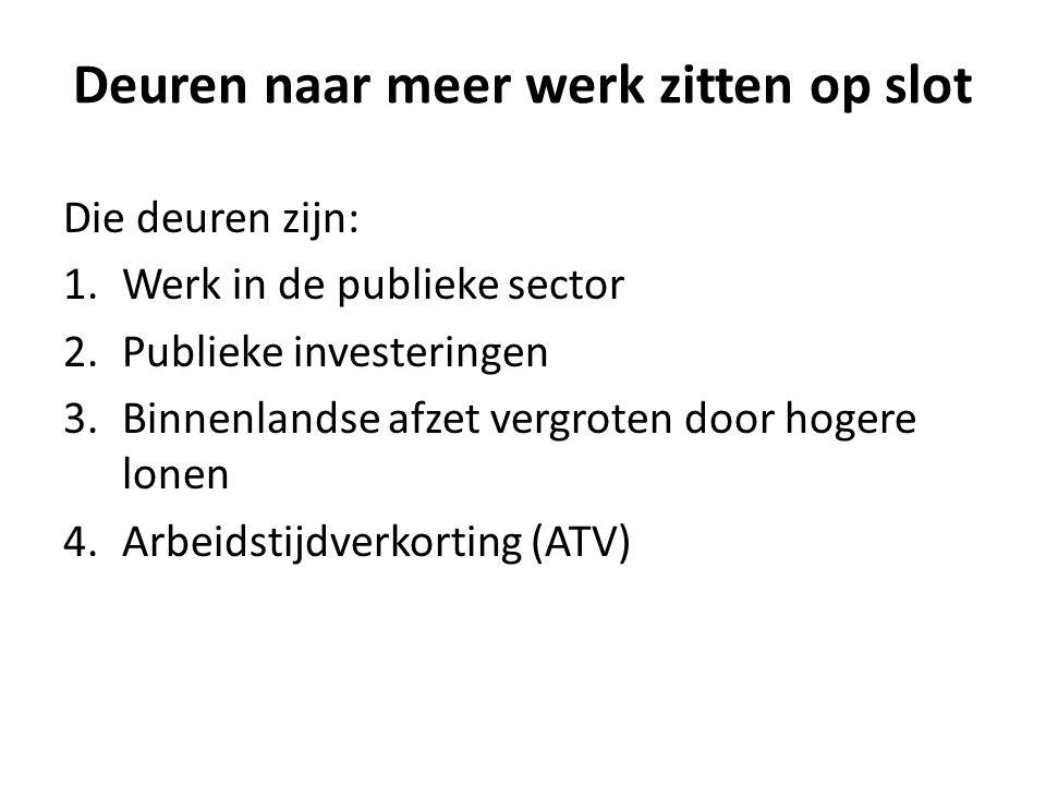 Deuren naar meer werk zitten op slot Die deuren zijn: 1.Werk in de publieke sector 2.Publieke investeringen 3.Binnenlandse afzet vergroten door hogere