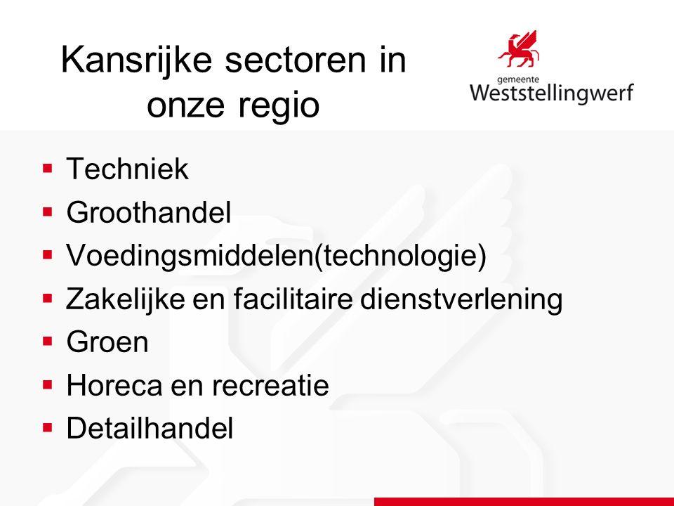Kansrijke sectoren in onze regio  Techniek  Groothandel  Voedingsmiddelen(technologie)  Zakelijke en facilitaire dienstverlening  Groen  Horeca en recreatie  Detailhandel