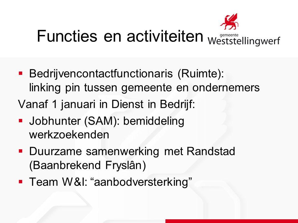 Functies en activiteiten  Bedrijvencontactfunctionaris (Ruimte): linking pin tussen gemeente en ondernemers Vanaf 1 januari in Dienst in Bedrijf:  J