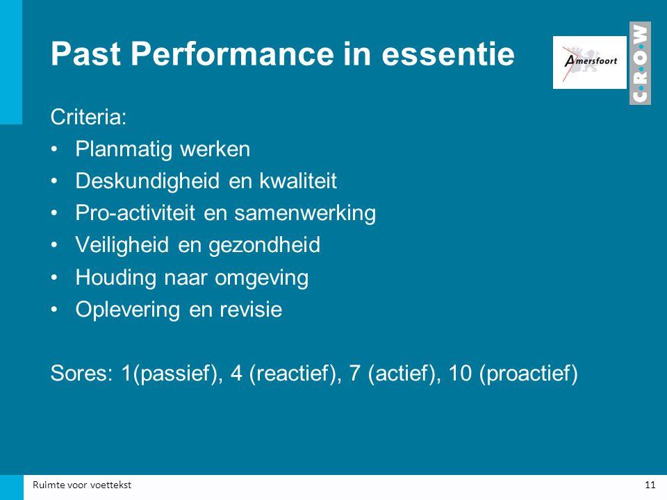 Past Performance in essentie Criteria: Planmatig werken Deskundigheid en kwaliteit Pro-activiteit en samenwerking Veiligheid en gezondheid Houding naar omgeving Oplevering en revisie Sores: 1(passief), 4 (reactief), 7 (actief), 10 (proactief) Ruimte voor voettekst11