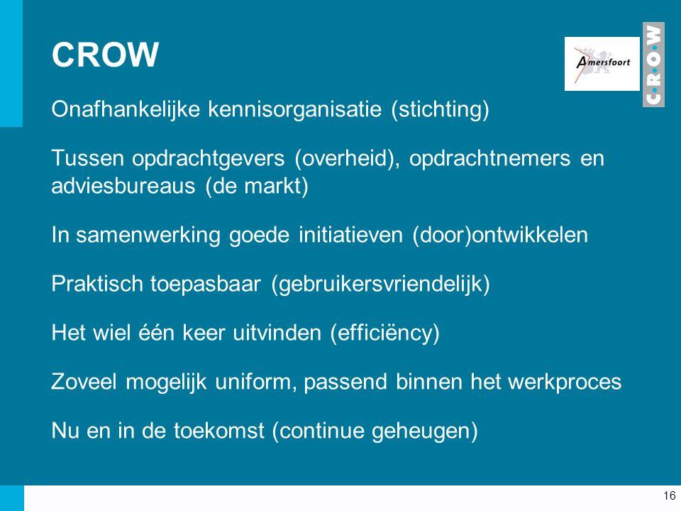 CROW Onafhankelijke kennisorganisatie (stichting) Tussen opdrachtgevers (overheid), opdrachtnemers en adviesbureaus (de markt) In samenwerking goede initiatieven (door)ontwikkelen Praktisch toepasbaar (gebruikersvriendelijk) Het wiel één keer uitvinden (efficiëncy) Zoveel mogelijk uniform, passend binnen het werkproces Nu en in de toekomst (continue geheugen) 16