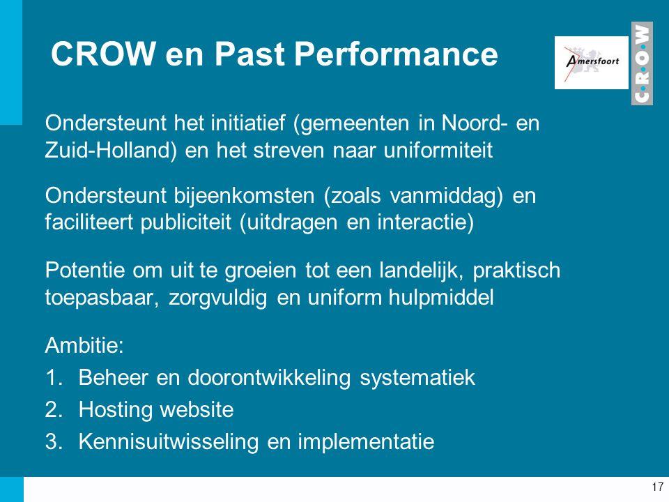 CROW en Past Performance Ondersteunt het initiatief (gemeenten in Noord- en Zuid-Holland) en het streven naar uniformiteit Ondersteunt bijeenkomsten (zoals vanmiddag) en faciliteert publiciteit (uitdragen en interactie) Potentie om uit te groeien tot een landelijk, praktisch toepasbaar, zorgvuldig en uniform hulpmiddel Ambitie: 1.Beheer en doorontwikkeling systematiek 2.Hosting website 3.Kennisuitwisseling en implementatie 17