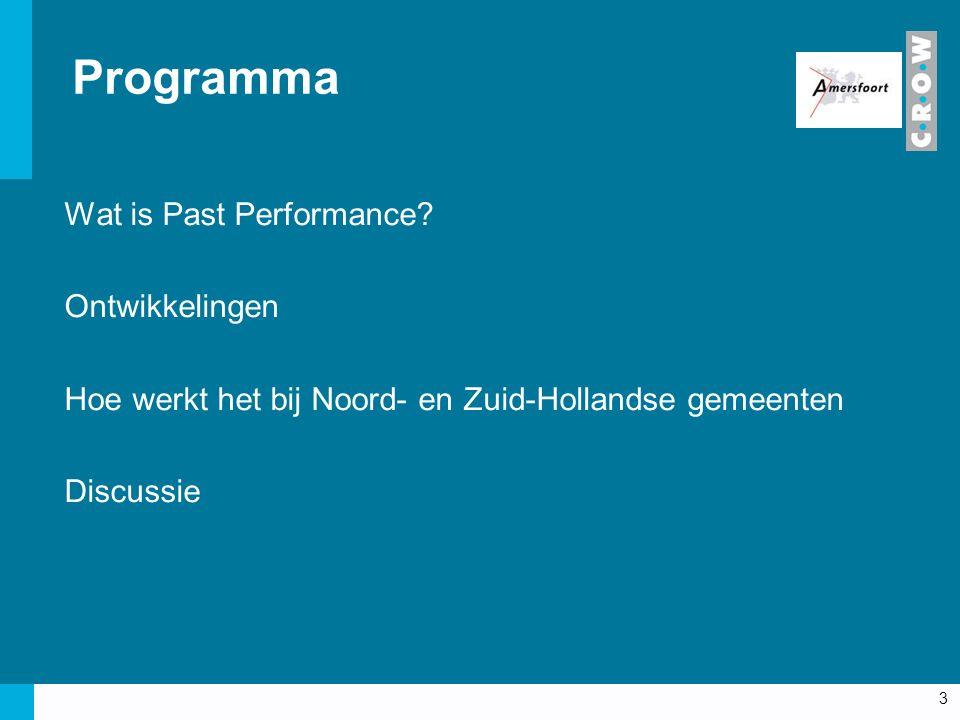 Programma Wat is Past Performance? Ontwikkelingen Hoe werkt het bij Noord- en Zuid-Hollandse gemeenten Discussie 3