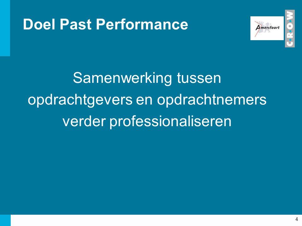 Past Performance meten (beoordelen)… hoe de opdrachtnemer voldoet aan de contractuele verplichtingen… tijdens de uitvoering van de (bouw)opdracht Maar ook: mening van de opdrachtnemer over de opdrachtgever houding en gedrag 5