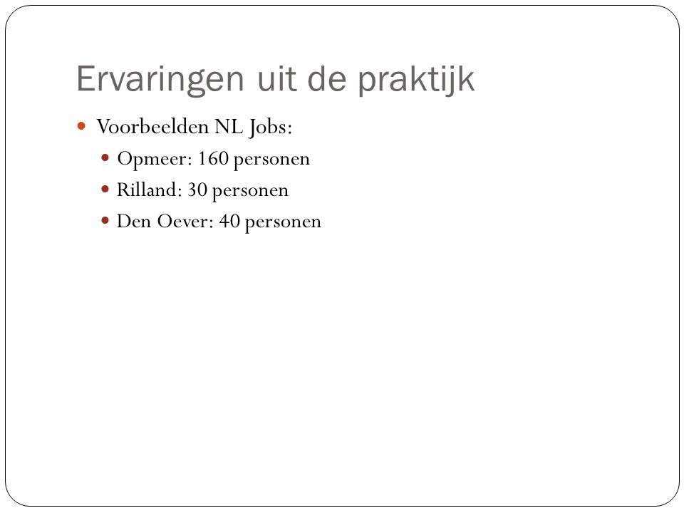 Ervaringen uit de praktijk Voorbeelden NL Jobs: Opmeer: 160 personen Rilland: 30 personen Den Oever: 40 personen