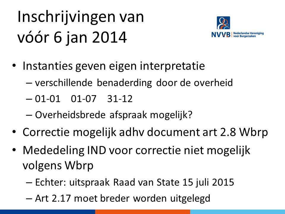 Inschrijvingen van vóór 6 jan 2014 Instanties geven eigen interpretatie – verschillende benaderding door de overheid – 01-01 01-07 31-12 – Overheidsbrede afspraak mogelijk.
